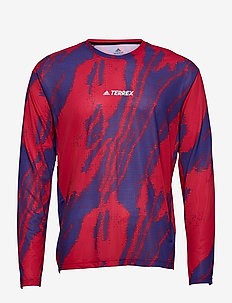 Terrex Primeblue Trail Graphic Long Sleeve T-Shirt - långärmade tröjor - scarle