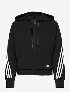 Sportswear Wrapped 3-Stripes Full-Zip Hoodie W - hupparit - black/white
