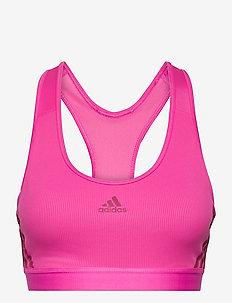 Believe This 3-Stripes Rib Bra W - sport bras: medium - scrpnk/wilpnk/wilpnk
