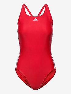 SH3.RO Classic 3-Stripes Swimsuit W - uimapuvut - vivred/white/vivred