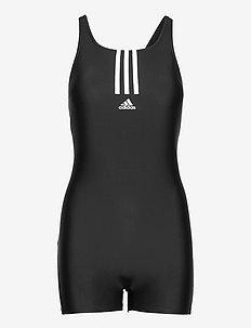 Padded Mid Stripes Leg Swimsuit W - stroje kąpielowe - black/white