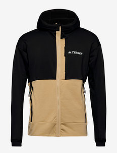 Terrex Tech Flooce Hooded Hiking Fleece Jacket - fleece - black/beiton
