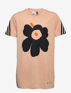 Marimekko Unikko Primegreen 3-Stripes Graphic Tee W - kurzärmelig - halblu/black