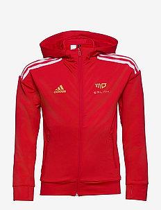 Salah AEROREADY Football-Inspired Full-Zip Hoodie - hoodies - vivred/white/goldmt