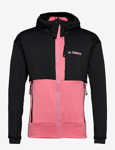 Terrex Tech Fleece Hooded Jacket - frilufts- og regnjakker - black/hazros