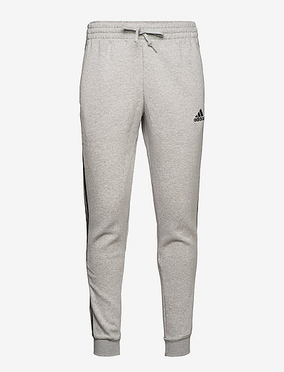 Essentials Fleece Fitted 3-Stripes Pants - sweatpants - mgreyh/black