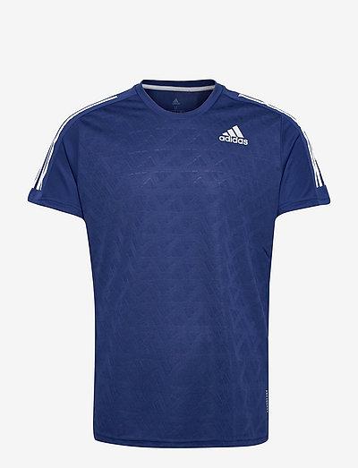 Own The Run 3-Stripes Running Tee - topy sportowe - vicblu/vicblu/white