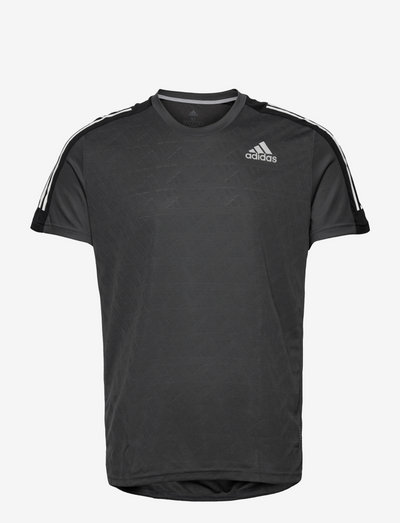 Own The Run 3-Stripes Running Tee - topy sportowe - gresix/black/white