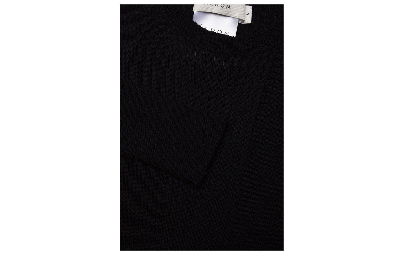 100 Laine Ribbed Top Knit Slim Áeron Black TFC4qTw