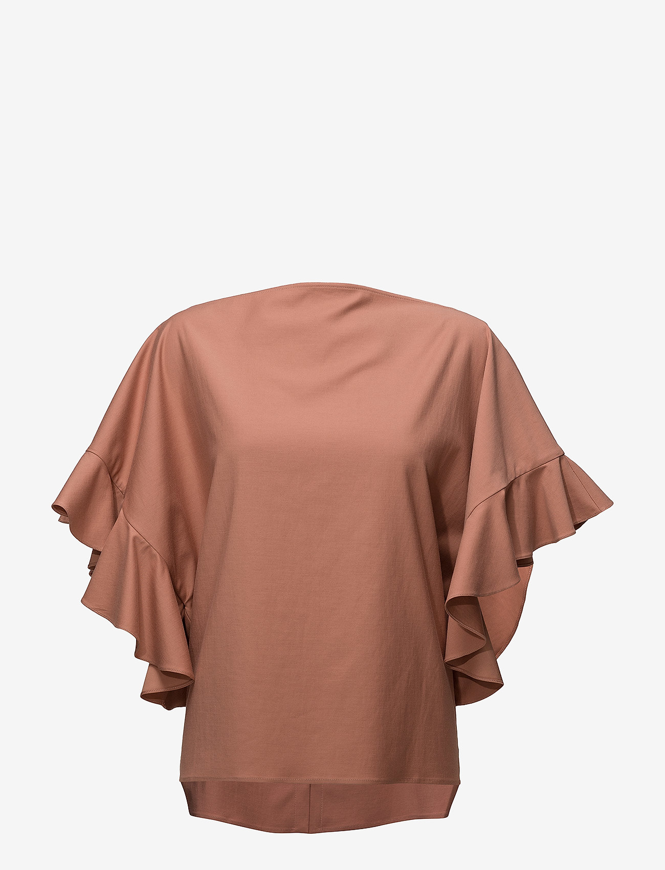 ÁERON - Back buttoned frilled sleeve top - lyhythihaiset puserot - terracotta