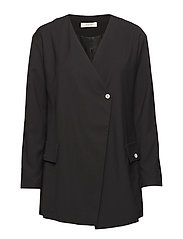 back belted fitted blazer - BLACK
