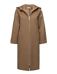 Long hooded parka coat - BROWN
