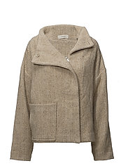 high neck box coat - SAND