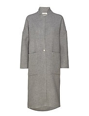 big pocket duster coat - HEATHER GREY