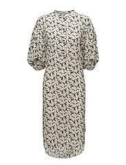 Long gathered sleeve dress - CREAM
