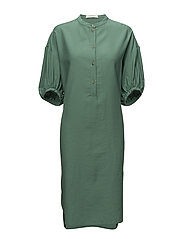 Long gathered sleeve dress - DUSTY GREEN