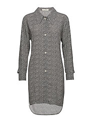 button cuffed shirt dress - BW