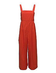 pinafore jumpsuit - RED-ORANGE