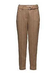 D-ring belted peg pants - BEIGE