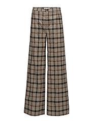 High waist wide leg pants - BROWN