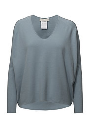 deep v-neck knit pullover - LIGHT BLUE
