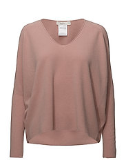 deep v-neck knit pullover - ROSE