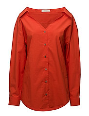 Wide v-neck shirt - RED-ORANGE