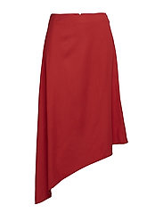 back pocket midi skirt - POPPY RED