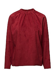 Gathered neck top - RED