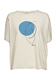 japanese sleeve t-shirt - IVORY - BLUE