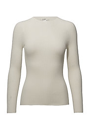ribbed slim knit top - CREAM