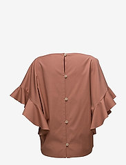 ÁERON - Back buttoned frilled sleeve top - lyhythihaiset puserot - terracotta - 1