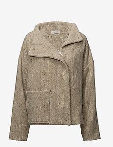high neck box coat - wool jackets - sand