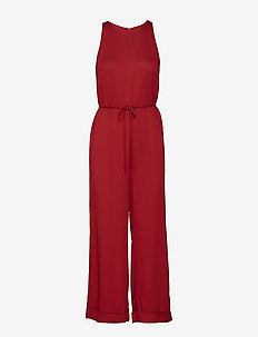tie front jumpsuit - POPPY RED
