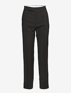 asymmetric hem cigarette pants - BLACK