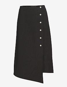 button slit skirt - BLACK