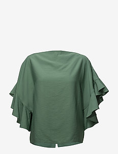 Back buttoned frilled sleeve top - DUSTY GREEN