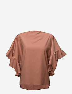 Back buttoned frilled sleeve top - TERRACOTTA
