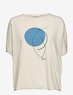japanese sleeve t-shirt - IVORY - BLUE