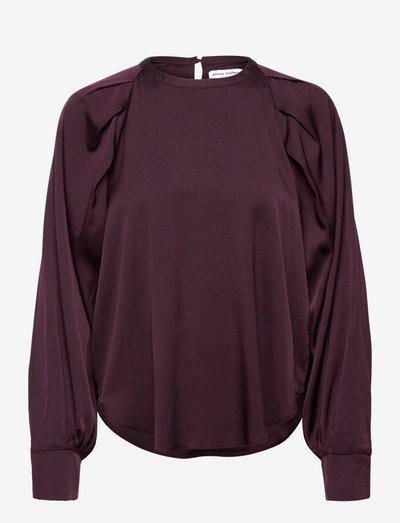 Cheyenne silk blouse - langermede bluser - burgundy