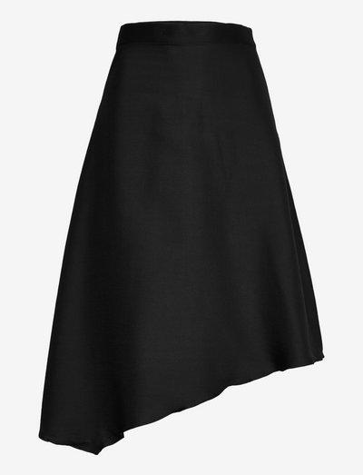 Dina wool skirt - midi skjørt - black