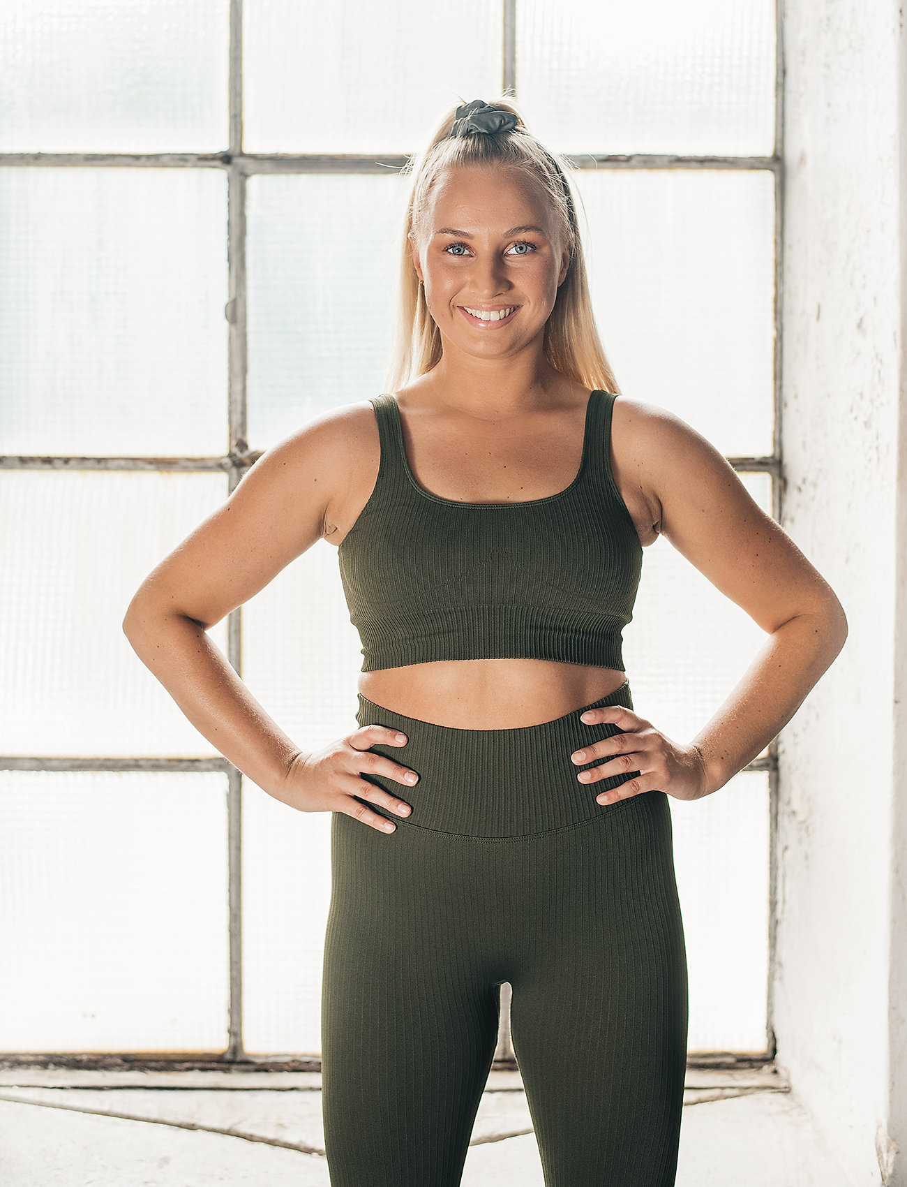 AIM'N - Khaki Ribbed Seamless Bra - sport bras: medium - khaki - 0