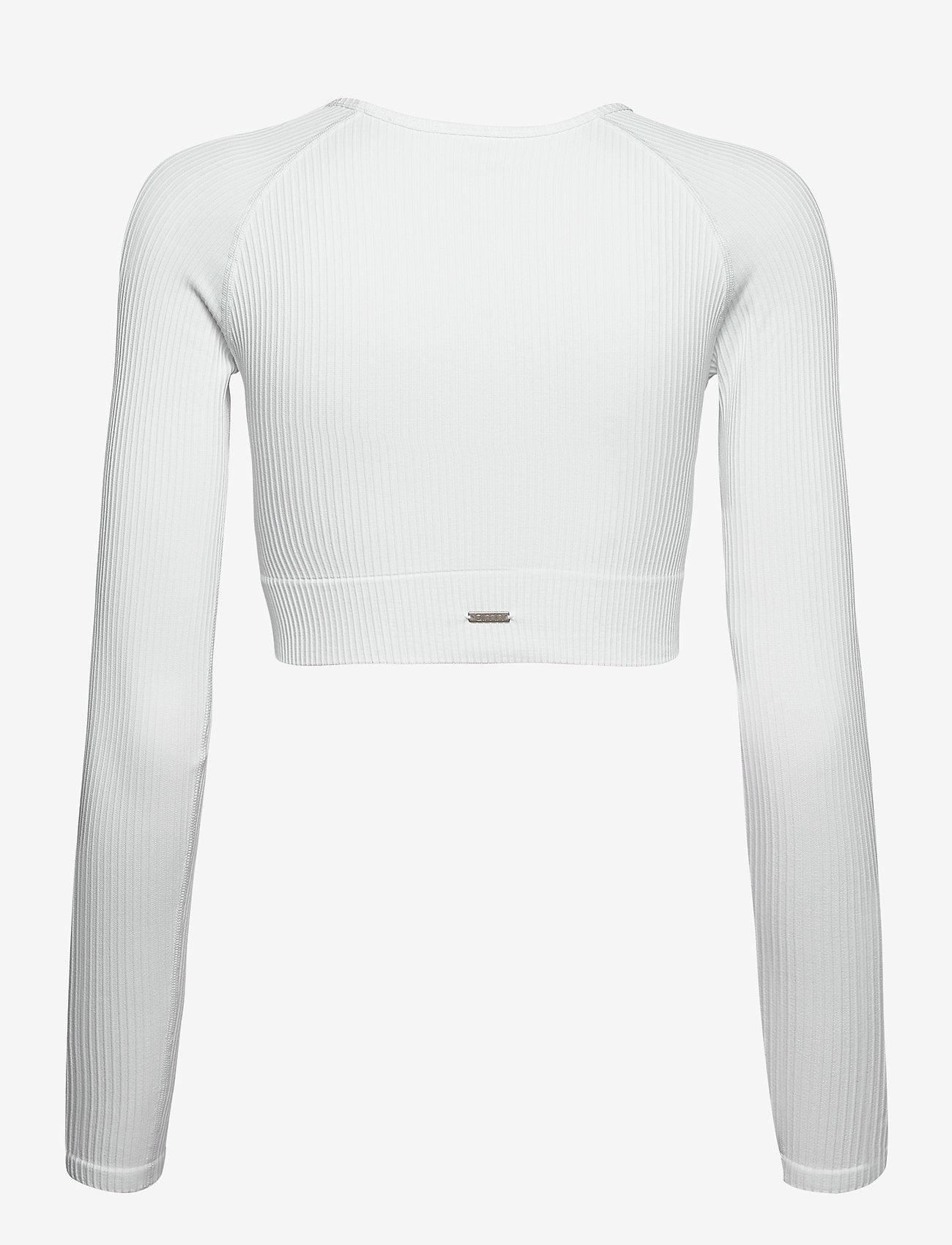 AIM'N - White Ribbed Seamless Crop Long Sleeve - langærmede toppe - white - 1