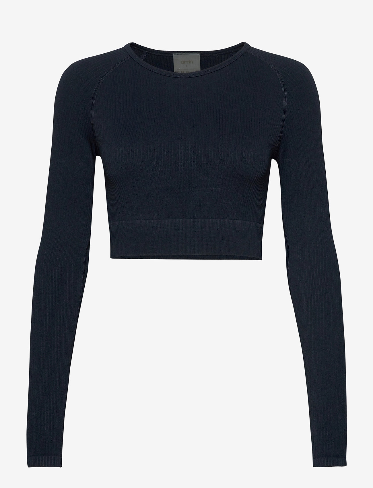 AIM'N - Navy Ribbed Crop Long Sleeve - langærmede toppe - navy - 1