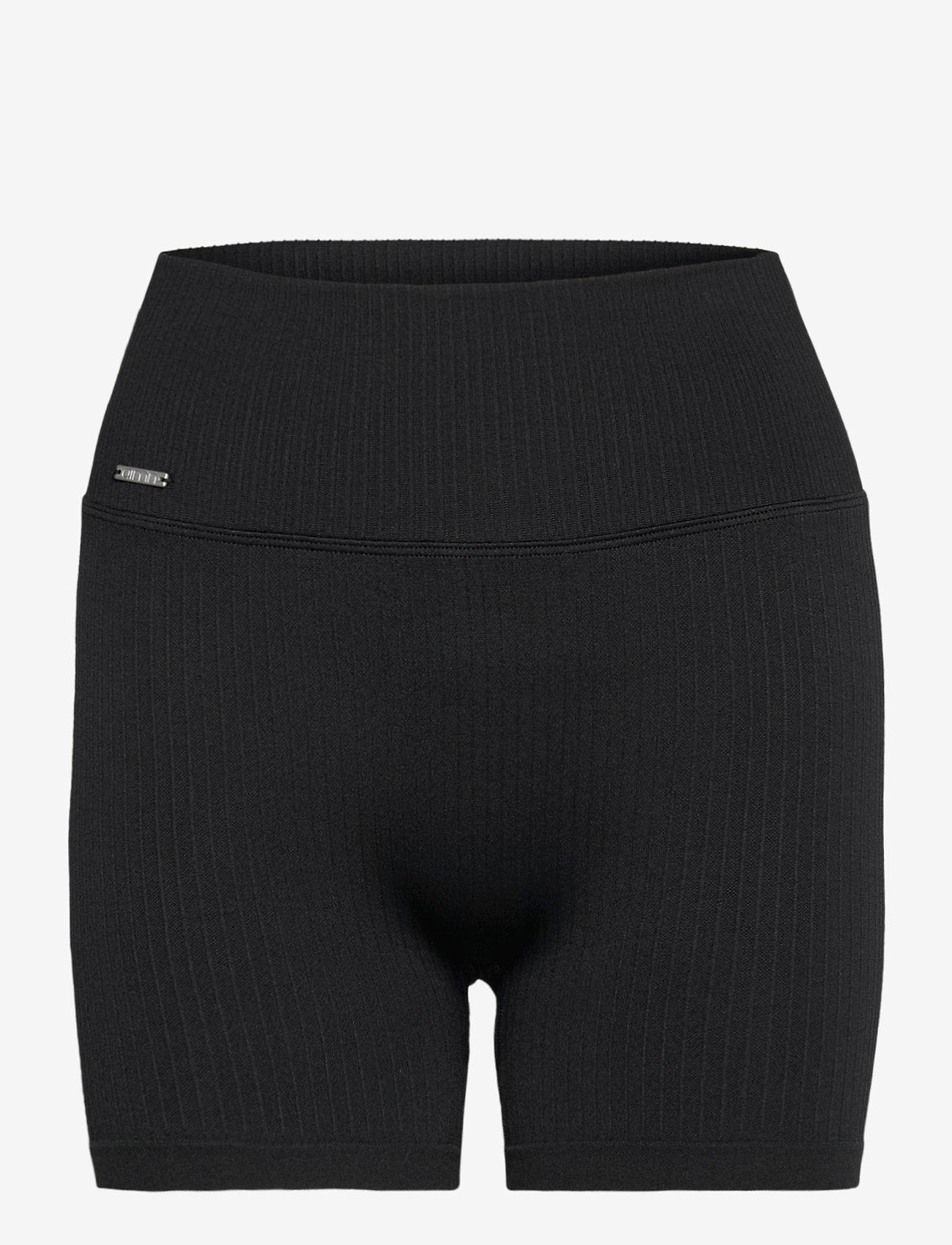 AIM'N - Black Ribbed Midi Biker Shorts - träningsshorts - black - 0
