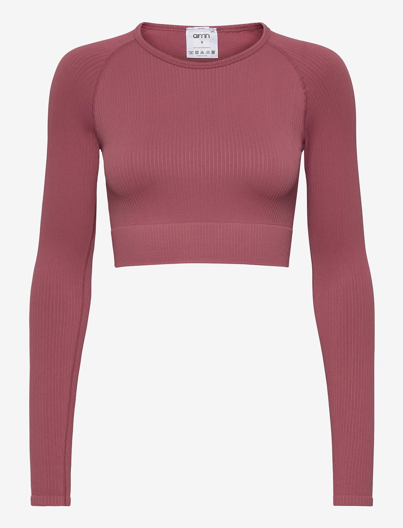 AIM'N - Pink Beat Ribbed Seamless Crop Long Sleeve - langærmede toppe - pink - 1