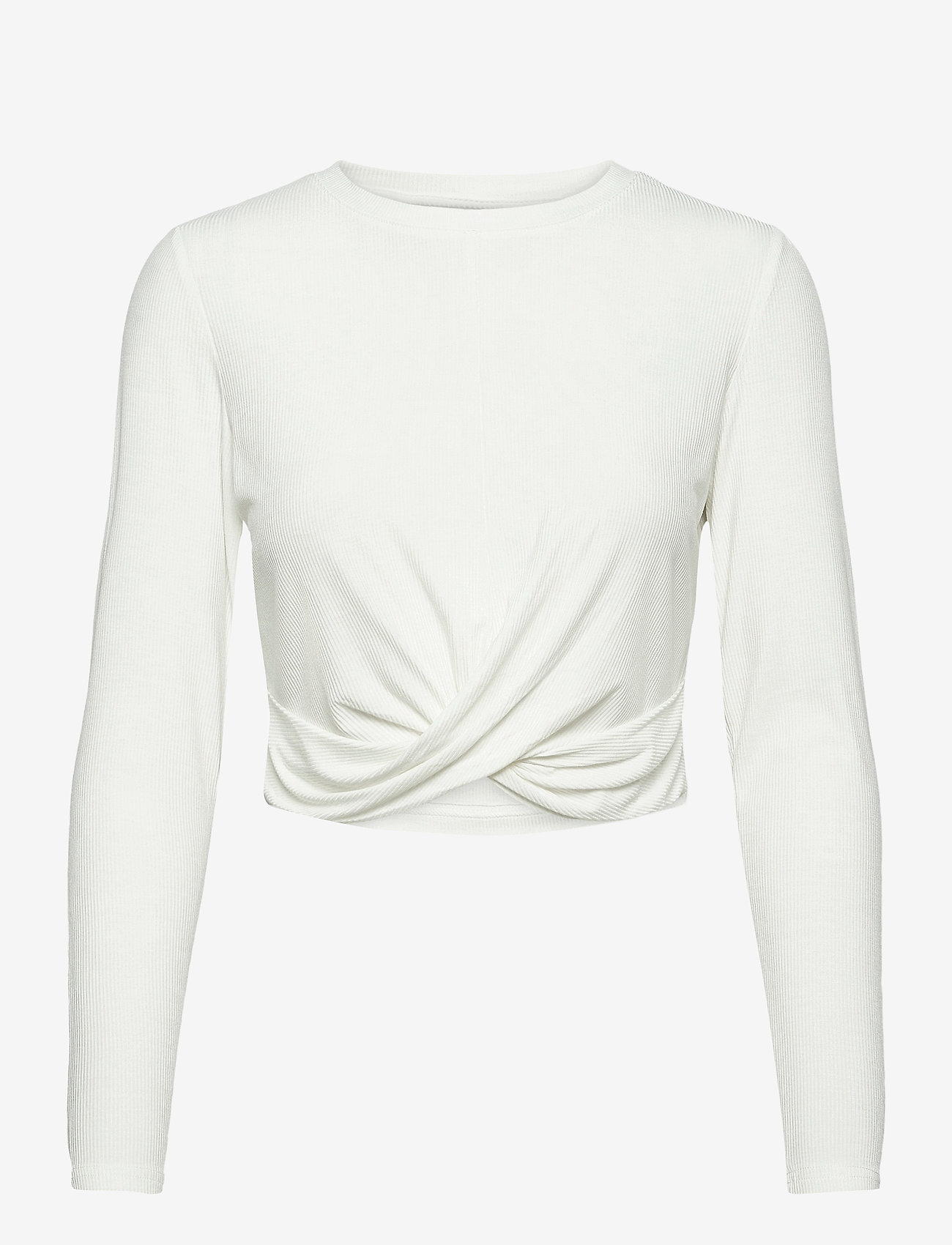 AIM'N - White Rib Knot Top - langærmede toppe - white - 1