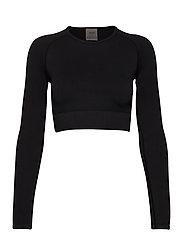 Black Ribbed Seamless Crop Long Sleeve - BLACK