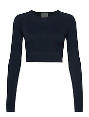 Navy Ribbed Crop Long Sleeve - NAVY
