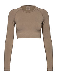 Espresso Ribbed Seamless Crop Long Sleeve - ESPRESSO